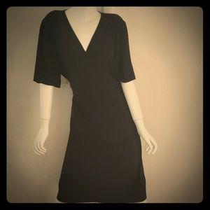 Eileen Fisher classic black wrap dress.